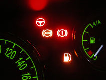 Fuel's problem. Electonic advice on a car tachometer Stock Image