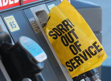 Fuel shortage. Out of service label on gas pump Royalty Free Stock Photo