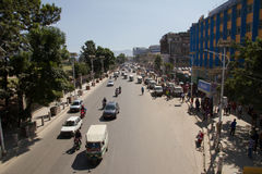 Fuel shortage street scene of Kathmandu Nepal Royalty Free Stock Images