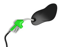 Fuel spill. Illustration of fuel spilling out of petrol nozzle  on white background, concept of wastage of fossil fuels and pollution Royalty Free Stock Image
