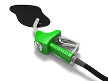 Fuel spill. Illustration of fuel spilling out of petrol nozzle  on white background, concept of wastage of fossil fuels and pollution Stock Photography