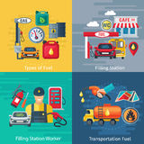 Fuel Station Concept Icons Set. With oil workers and cars symbols flat  vector illustration Royalty Free Stock Image