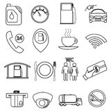 Fuel station line icons set Royalty Free Stock Image