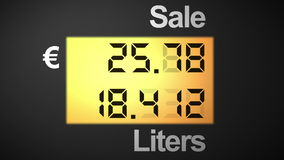 Fuel station pump display, euro. Rising euros and liters on a fuel station pump, right angle stock video footage