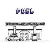 fuel stationen Stock Illustrationer