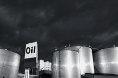 Fuel-stoarage tanks and oil Stock Images