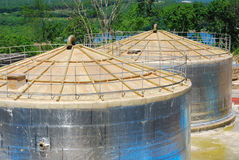 Fuel storage in large tanks. The construction site for the storage of fuel storage Stock Images