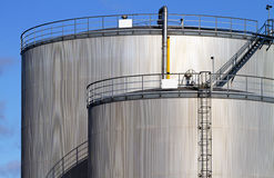 Fuel storage tanks. Royalty Free Stock Photos