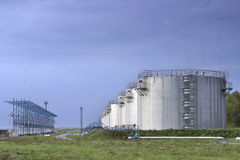 Fuel storage tanks Royalty Free Stock Photos
