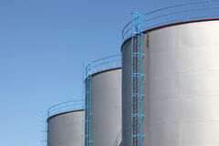 Fuel storage tanks. Details of fuel storage tanks Royalty Free Stock Images