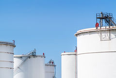 Fuel storage in white tanks Stock Photography
