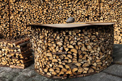 Fuel supply of dry logs. Fuel supply of  logs,  some covered to keep them dry , each split in two for ease of use Stock Photos