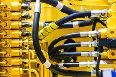 Fuel system of the tubes and pipes of the tractor. Or bulldozer stock images