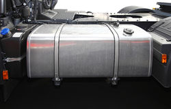 Fuel tank. Stainless steel fuel tank at big truck Royalty Free Stock Photos