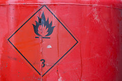 Fuel tank with warning sign Stock Photo