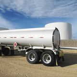 Fuel tanker. Back end of a fuel tanker Stock Photo
