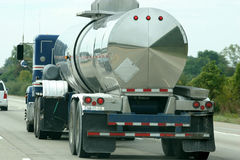 Fuel Tanker. Truck driving on  on highway Stock Photos