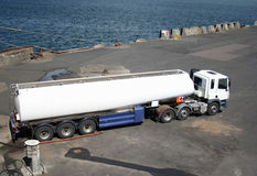 Fuel tanker at dock Royalty Free Stock Image