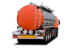 Fuel Tanker Truck. A Big Orange Fuel Tanker Truck Isolated on White Stock Images