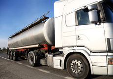 Fuel tanker truck. Driving on the road Royalty Free Stock Photo