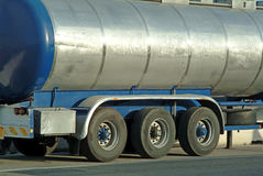 Fuel tanker truck. And trailer rear view Stock Photo