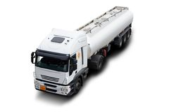 Fuel Tanker Truck. A Big White Fuel Tanker Truck Isolated Stock Images