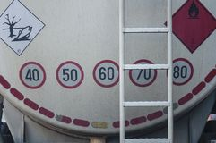 Fuel tanker truck detail. Large fuel tanker truck detail Royalty Free Stock Photos