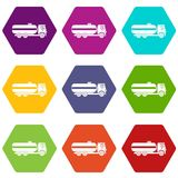 Fuel tanker truck icon set color hexahedron. Fuel tanker truck icon set many color hexahedron isolated on white vector illustration Stock Photo