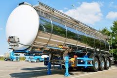 Fuel tanker truck. Fuel tanker semi truck on oil refinery Stock Images