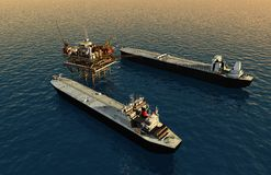 Fuel. Tankers near the station for oil.,3d render royalty free illustration