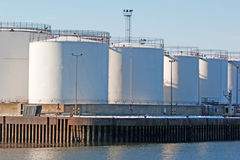 Fuel Tanks. Large fuel storage tanks in harbour Stock Photography