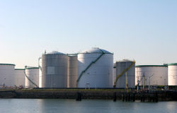 Fuel tanks. In the harbor stock photography