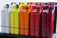 Fuel tanks. Set of colored tanks as containers for liquids like fuel Royalty Free Stock Photos