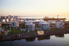 Fuel tanks in the  port Royalty Free Stock Images