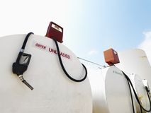Fuel tanks and pumps. Royalty Free Stock Image