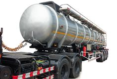 Fuel trailer tanker truck on isolate white background.  Royalty Free Stock Images