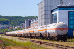Fuel Train. The many of tanks with oil and fuel transport by rail royalty free stock photography