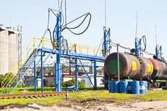 Fuel Transfer. The station is pumping fuel from tanks Royalty Free Stock Images