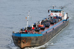 Fuel transport by boat Stock Photo