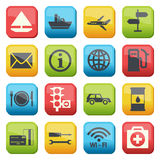 Fuel and transport colored icons Royalty Free Stock Photo