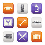 Fuel and transport colored icons Royalty Free Stock Photos