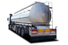 Fuel Truck. Big Fuel Tanker Truck Isolated on White royalty free stock photo