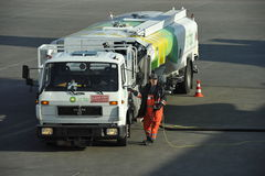 Fuel Truck at the Airport Nuremberg Royalty Free Stock Photos
