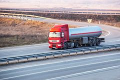 fuel truck on the highway Stock Photo