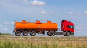 Fuel truck on the highway Stock Images