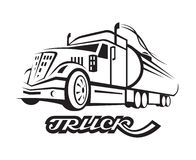 Fuel truck. Monochrome illustration of fuel truck with cistern stock illustration