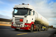 Fuel truck in motion Stock Images