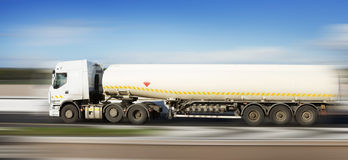 Fuel truck in motion Stock Photo