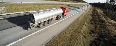 Fuel truck on the move Stock Photo