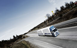 Fuel truck on the move. Elevated view and panoramic perspective stock image